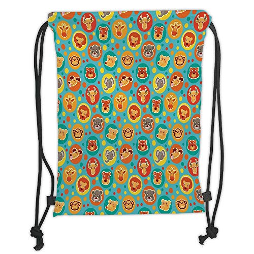 New Fashion Gym Drawstring Backpacks Bags,Cartoon Animal,Comic Animal Faces on Colorful Dots Happy Kindergarten Fun Characters Kids Decorative,Multicolor Soft Satin,Adjustable -