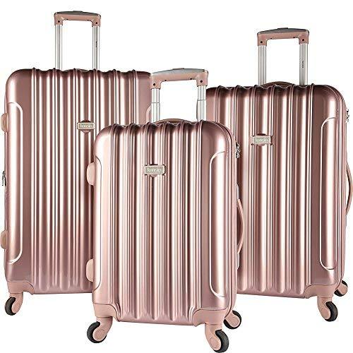 kensie 3 Piece Light Metallic Design 4-Wheel Luggage Set, Rose Gold Color ()