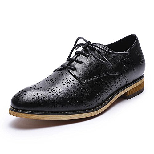 Mona flying Womens Leather Perforated Brogue Wingtip Derby Saddle Oxfords Shoes for Womens ladis Girls ()