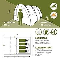 4 Personas 480x310cm Columna de Agua de 5000 mm Tienda campa/ña Familiar mosquiteras skandika Gotland t/únel