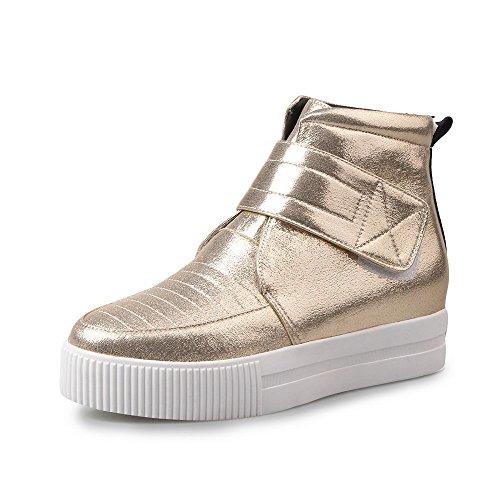 Allhqfashion Mujeres Pu Low-top Solid Hook-and-loop Kitten-heels Botas Gold