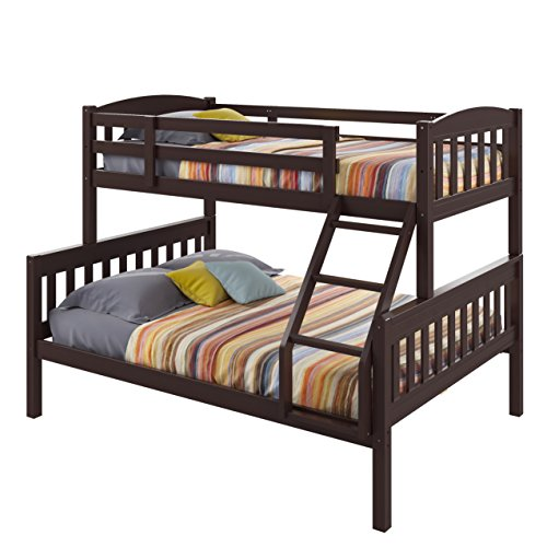 CorLiving BAF-290-B Ashland Bunk Bed, Twin-Over-Full, Dark Cappuccino (Cappuccino Finish Slat Design)