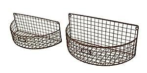 2 Pc. Metal Mesh Wire Arch Wall Basket Planter Set