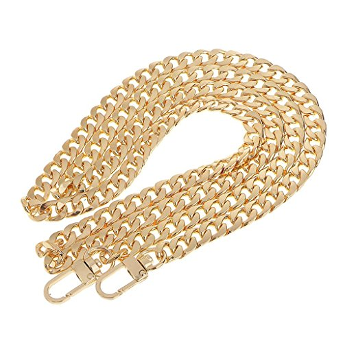 LONGTEAM 47 Purse Chain Strap Replacement 9mm Width DIY Flat Metal Chain Strap for Handbags Clutch Wallet Satchel Tote Shoulder Crossbody Bag, with 2pcs Metal Buckles (9mm Width Gold)