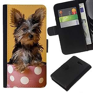 EJOY---La carpeta del tirón la caja de cuero de alta calidad de la PU Caso protector / Sony Xperia M2 / --Yorkshire Terrier de mojón Raza