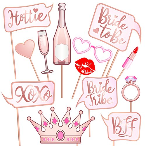 Rose Gold Pink Bridal Shower Photo Booth Props - Fun Bachelorette Party Signs - Make The Perfect Selfies Bride to Be, Bride Tribe - Photobooth Prop Sticks Engagement, Wedding Girls -