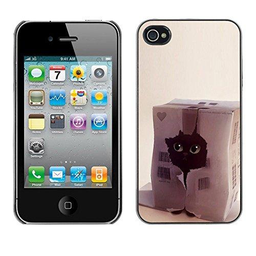 TopCaseStore / caoutchouc Hard Case Housse de protection la Peau - Funny Cat Cute Pet Black House Heart - Apple iPhone 4 / 4S