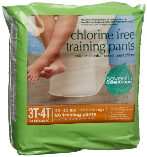 3-4T Training Pants - Chlorine free 32 to 40 lbs, 26 counts,(Seventh Generation) Chlorine Free Training Pants