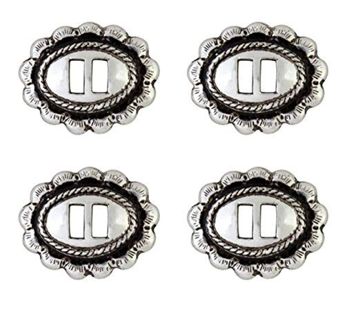 Set of 4 Western Saddle Bright Silver Rio Grande Slotted Concho 1″ by 3/4