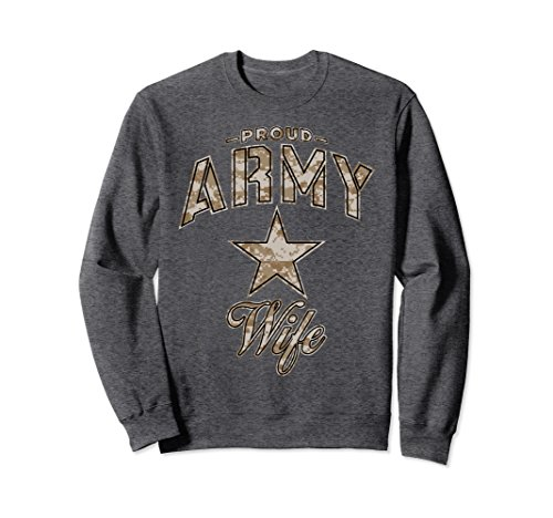 Army Wife Dark T-shirts (Unisex Army Wife Sweatshirt for Women (Camo) Medium Dark Heather)