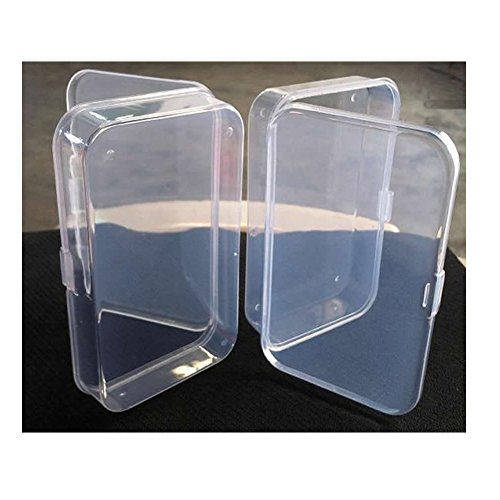 Feamos Plastic Transparent Storage Box Case with Lid Collection Container Pack of 2