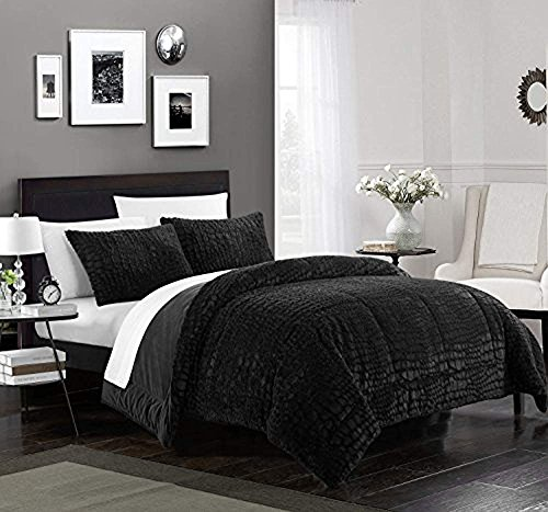 Chic Home Alligator 3 Piece Comforter Set Faux Fur Micro Min