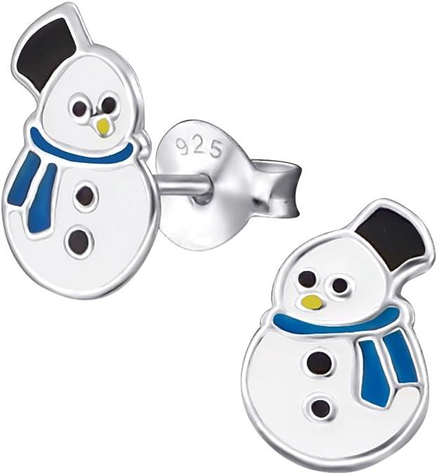 Ohrstecker Schneemann 925 Silber Kinder Ohrringe Mädchen Jungen niedlich Snowman