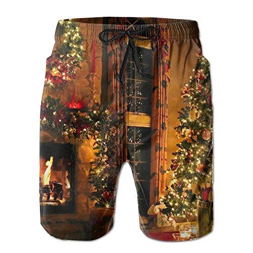 Christmas Night Men's Beach Pants Workout Gym Short Shorts Pockets Sweatpants Waist Tension Design (Halloween Night Out Pics)