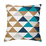 SLOW COW Home Decorative Embroidered Throw Pillow Cover Multi Triangular Cushion Cover for Living Room 18 x 18 Inch