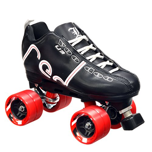 New! Labeda Voodoo U3 Quad Roller Speed Skates Customized Black w/ Red Dart Wheels! (Mens 8 / Ladies 9)