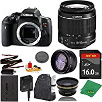 Great Value Bundle for T6I DSLR – 18-55mm STM + 16GB Memory + Wide Angle + Telephoto Lens + Backpack
