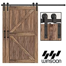 WINSOON 7.5FT Single Track Bypass Sliding Barn Door Hardware Kit for Double Doors, Low Ceiling, Easy Mount, Heavy Duty, Slide Quietly and Smoothly