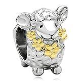 22K Gold Plated Cute Sheep Animal Bead Charm Fit Pandora Chamilia Biagi Charm Bracelet