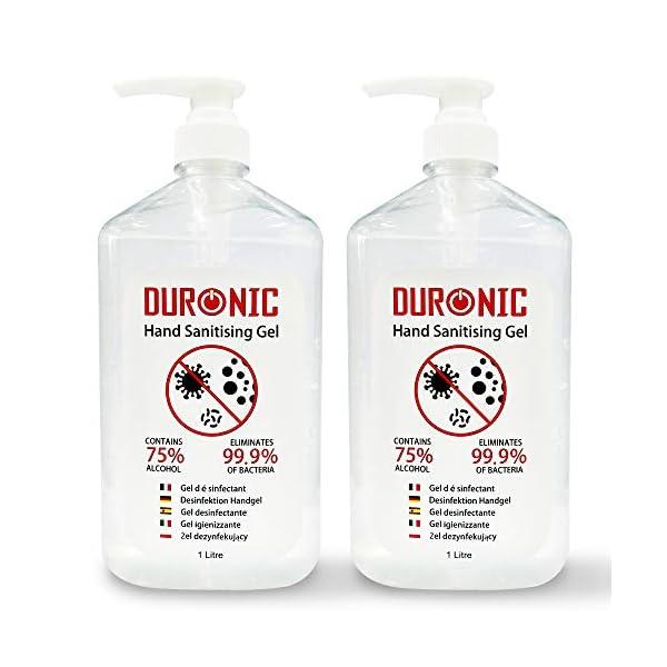 Duronic Hand Sanitiser Gel 75% Alcohol Fragrance-Free Formula