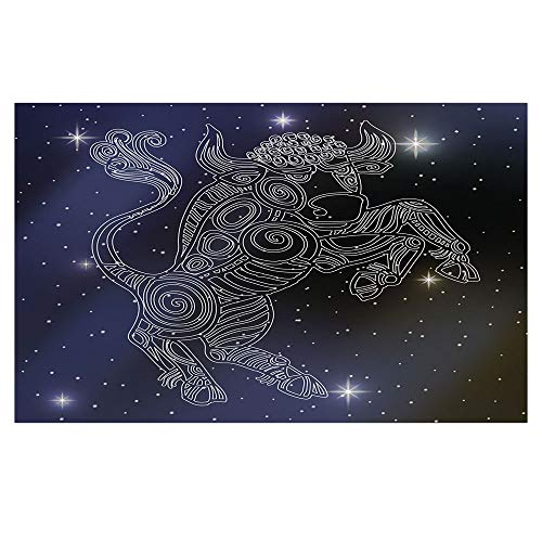 iPrint 3D Floor/Wall Sticker Removable,Taurus,The Sun on Bull Sign Symbol Mythological Figure on Milky Way Celestial Illustration,Grey Purple,for Living Room Bathroom Decoration,35.4x23.6