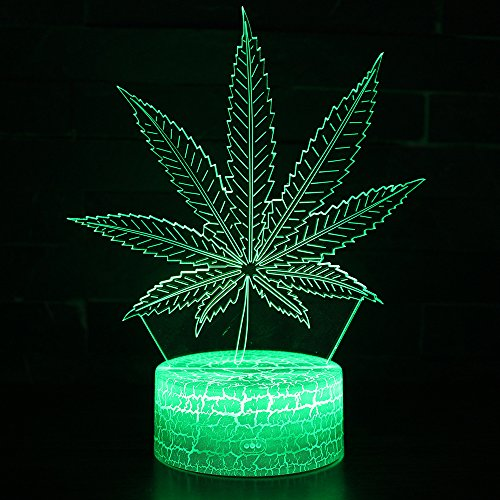 Upgrade Version Marijuana Leaf 3D LED Table Lamp Cannabis Weed Night Light Optical Visual Illusion Home Decor Lighting