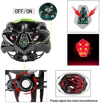 Shinmax Fahrradhelm mit LED-Licht Einstellbarer Sicherheitsschutz Leichter Fahrradhelm f/ür Fahrradfahren BMX Scooter Skate Mountain Road Fahrradhelm mit CE Zertifikat 57-62cm