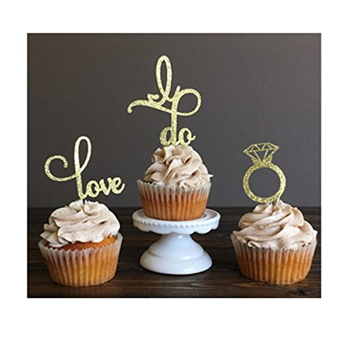 Hinsper OTHER 11 Love Topper, Wedding Food Girls Birthday Cake Decor Cupcake Christmas Party Picks, 24 Pieces, Muffin Cups