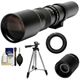 Samyang 500mm f/8.0 Telephoto Lens (T Mount) with 2x Teleconverter (=1000mm) + Tripod + Accessory Kit for Nikon 1 J1, J2 & V1 Digital Cameras