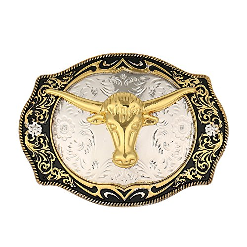 Long Horn Bull Western Belt Buckle Golden Rodeo Texas Cowboy Large Western buckles