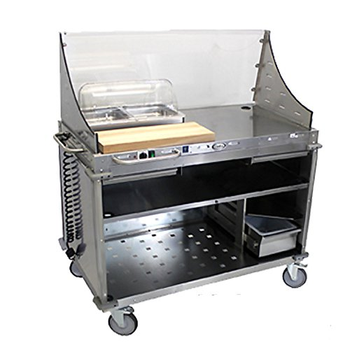 Cadco CBC-DC-L1 Large Mobile Demo/Sampling Cart Full Size Buffet Server with Open Cabinet Base ()