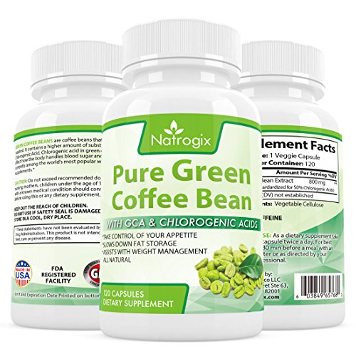 Natrogix 800mg Green Coffee Bean Extract - Pure Natural GCA (Standardized to 50% Chlorogenic Acids) Supplement, Appetite Suppressant to Lose Weight. Energy Booster, Made in USA (120 Capsules). (Ultra Pure Coffee Bean compare prices)