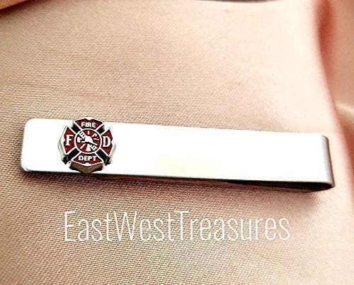 STEEL Maltese red Cross Firefighter tie clip bar -suit tie necktie accessory gift for men