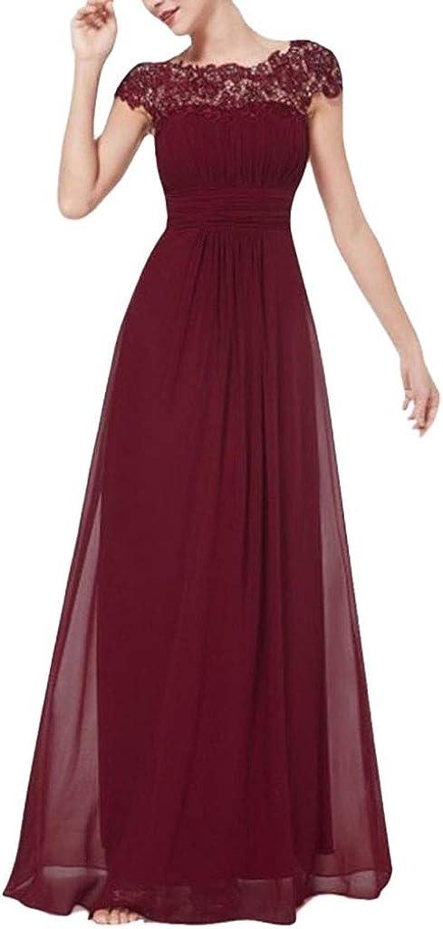 MAYOGO Damen Kleider Elegant Festlich Hochzeit Lang Kleid,Kurzarm Spitze Kleid zur Hochzeit Gast,Bodenlang Maxi Kleid Abendkleider Party Abschlussball Kleid aus Tüll