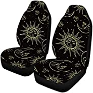 INTERESTPRINT Sun Mo on and Stars Auto Seat Covers 2 pc, Bucket Seat Protector Car Seat Cushions for Car, SUV,