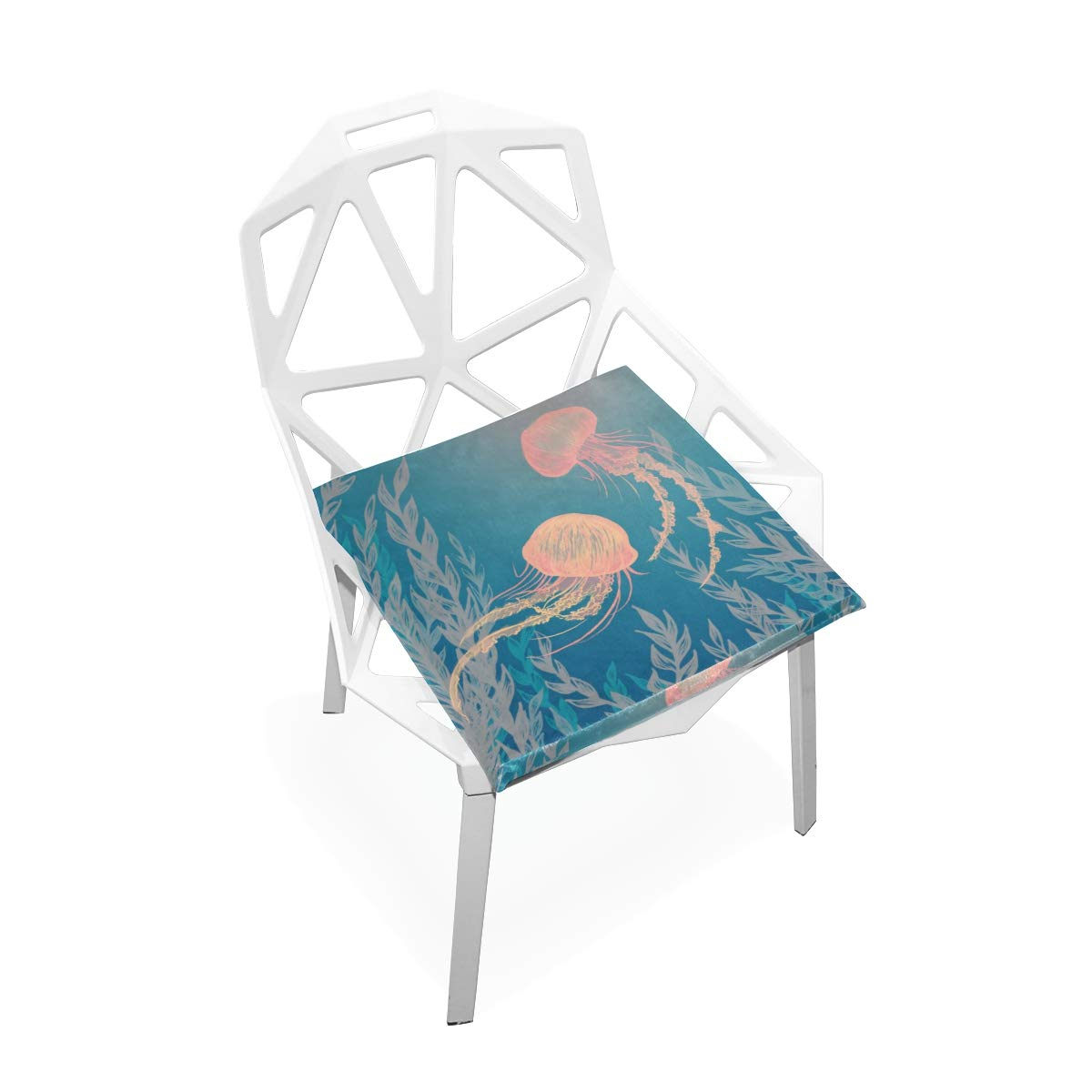 TSWEETHOME Comfort Memory Foam Square Chair Cushion Seat Cushion Seaweed Jellyfish Chair Pads Hardwood Floors Dining Chairs Office Chairs