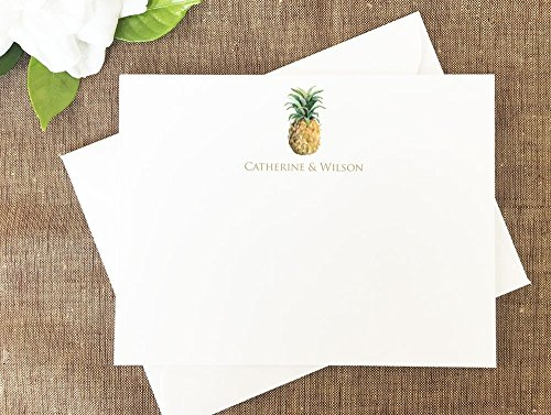 Pineapple Thank You Notes, Hawaiian Pineapple Stationery, Personalized Wedding Stationery Set of 10 Note Cards by Lolo Lincoln