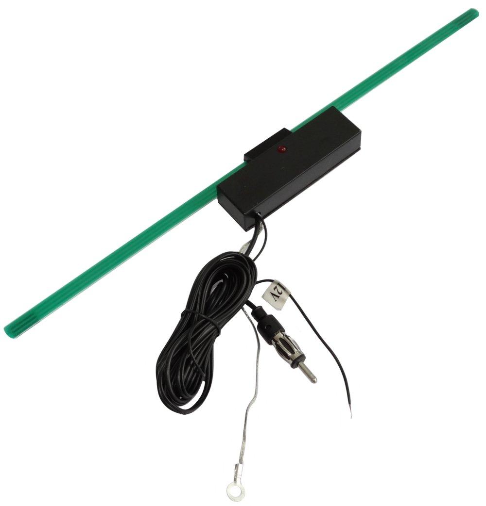 Aerzetix Radio Innen Scheibenantenne Klebeantenne Antenne mit Verstärker für Auto 34cm 2 Meter Kabel C16620