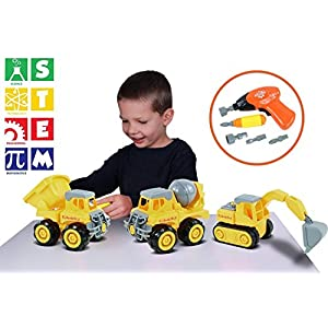 Kidwerkz Construction Vehicle, STEM Learning (Set 68 Pieces), Take Apart Fun (Pack of 3), Dump Truck, Cement Truck & Digger | With Tools and Electric Drill | Best Toy Gift Kids 3-6 yrs-old Boys Girls