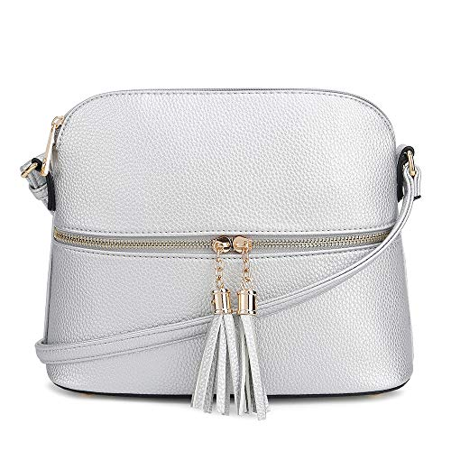 SG SUGU Lightweight Medium Dome Crossbody Bag with Tassel | Zipper Pocket | Adjustable Strap (Silver)