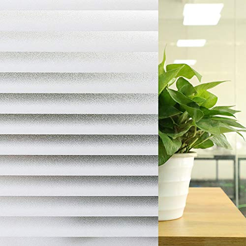 (WochiTV Privacy Window Film, Frosted Window Film with Blinds Pattern, No Glue UV Protection Heat Control, Perfectly Decorate Home Office Kitchen Living Room Bedroom - 35.4 Inch x 8.2 Feet, Shutter)