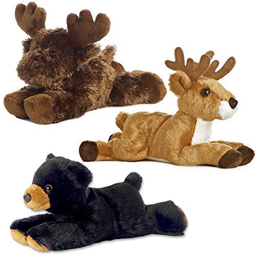 Aurora Bundle Deer Maxamoose and Black Bear Woodland Forest Mini - Woodland Moose Plush Animals