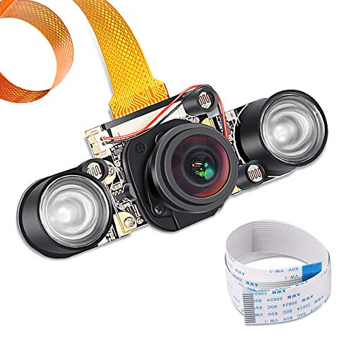 Raspberry Pi 3 b+ Camera Wide Angle 175 Degree Night Vision Camera 5MP OV5647 Video Webcam Built- in IR-Cut Automatically Switching Day/Night Vision for Raspberry Pi 3B/3B+ 2B B+ Pi Zero/Zero W