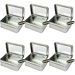 """Mighty Gadget (R) Rectangular Empty Hinged Lid Survival Tin Container with See Through Window Top for Geocaching or Survival Gear (6 Pack) - 5"""" x 3.625"""" x 1.5"""""""