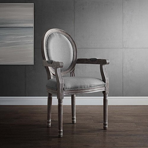 Modway Emanate Vintage French Upholstered Fabric Dining Armchair, Fully Assembled, Light Gray (Upholstered Dining With Chairs Arms)