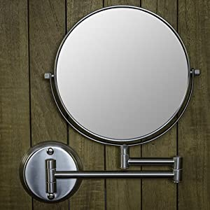 Hotel Quality 8 Magnification Wall Mount Swing Arm Mirror Two Sided Regular 7x Magnification Satin Nickel Finish