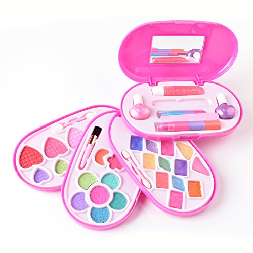 makeup kit for little girls. makeup kit for little girls washable, kid safe, 4 make-up palettes in