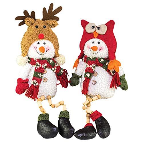 Hanna's Handiworks Winter Cap Snowman Button Leg Festive 17 x 7 Fabric Christmas Figurines Set of 2