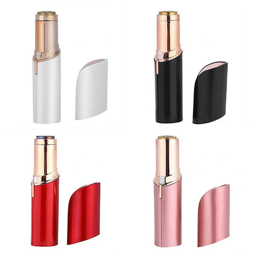 Depiladora Eléctrica USB Recargable Multifunción Afeitadora Femenina Forma Lápiz Labial Depilación sin Dolor Limpieza Cepillo Corporal Facial Mujer (Blanco) Hollosport