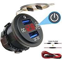 BLUERICE Quick Charge 3.0 Dual USB Outlet, 12V/24V 36W Dual USB QC3.0 Car Charger Socket With Touch Switch and LED Digital Voltmeter Display for Motorcycle Car Truck Marine Boat Scooter RV Golf Cart